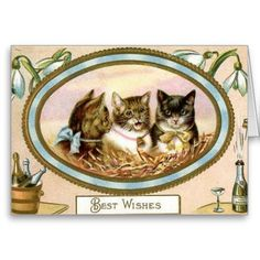 Vintage Cat New Year Greeting Card