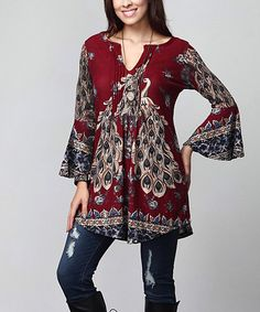 Another great find on #zulily! Red Peacock Notch Neck Bell-Sleeve Tunic - Plus #zulilyfinds