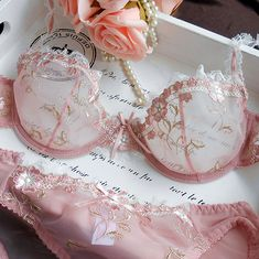 Free Shipping! Exquisite embroidery lotus pink ultra-thin women's sexy transparent lace underwear bra set US $15.80