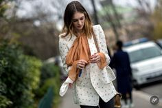 street style photo of Fashion model Laura Love after Chloé during Paris Women's Fashion Week.