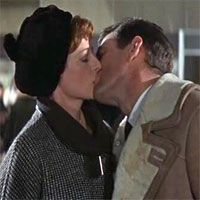 """KISSING COUPLE~Maggie Smith and Rod Taylor, """"The V.I.P's"""", 1963."""