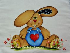 Easter Bunny painting on fabric