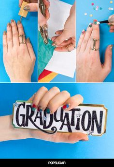 The perfect nail art to wear when you walk across that stage to receive your diploma.