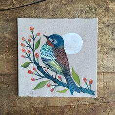 Image of Moon & Bird Pole Art, Mosaic Birds, Mini Canvas Art, Street Art, Bird Illustration, Bird Drawings, Mini Paintings, Small Art, Bird Art
