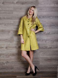 """Купить Пальто """" Лайм"""" - лимонный, пальто валяное, валяное пальто, пальто женское"""