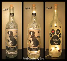 Who Rescued Who Lighted Wine Bottle Night by NightLightsbyLori