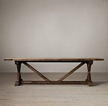 Salvaged Wood X-Base Extension Table     Restoration Hardware