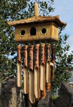 Fairtrade Double Bird House Bamboo Wind Chime  Source: Siiren Ltd