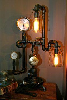 Machine Age Steampunk Steam Gauge Lamp #63 SOLD