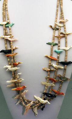 LRG Vintage Zuni DAVID or MARY TSIKEWA Bird Fetish Necklace   eBay
