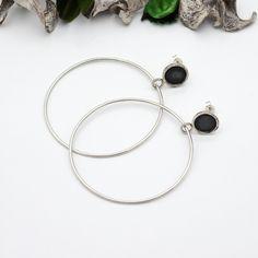 Black large hoop dangle silver earrings, Oxidized hoops. Hammered disc stud earrings. Made to order Bar Stud Earrings, Unique Earrings, Boho Earrings, Fashion Earrings, Earrings Handmade, Silver Earrings, Pendant Earrings, Handcrafted Jewelry, Geometric Jewelry