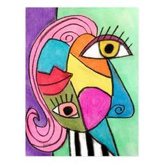 Abstract Face Art, Colorful Abstract Art, Chalk Pastel Art, Chalk Pastels, Art Picasso, Pablo Picasso, Cool Face, Face Fun, Cubism Art