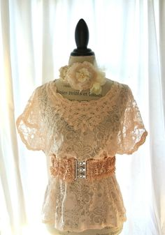 LOVE!!!  Battenburg lace shirt, fall blush top, cottage clothing, country chic, rustic shabby chic clothing, vintage large top. $62.00, via Etsy.
