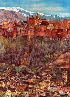 "Landscapes by British artist George Owen Wynne Apperley (1884-1960) - Watercolor - ""The Alhambra From My Studio"""
