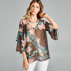 A lightweight sheer nylon bell top with ladder lace detail and floral print. This top is easy-to-wear with pullover styling and flowy double-bell sleeves. - 100% Polyester - Made in USA - Super lightw