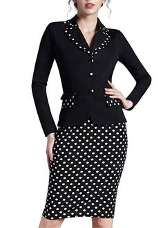 dress jumpsuit on sale at reasonable prices, buy Nice-forever Vintage Plaid Polka Dot Sheath Formal Work Dress Buttons Notched Full Sleeve Business Casual Pencil Dress from mobile site on Aliexpress Now! Pencil Dress Outfit, Dress Outfits, Fashion Dresses, Suits For Women, Clothes For Women, Winter Formal Dresses, Work Attire, Office Outfits, New Dress