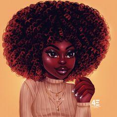 Coffee Noir Art Print by foreverestherr Sexy Black Art, Black Love Art, Beautiful Black Girl, Black Girl Art, Black Girls Rock, Art Girl, Natural Hair Art, Natural Hair Styles, Drawings Of Black Girls