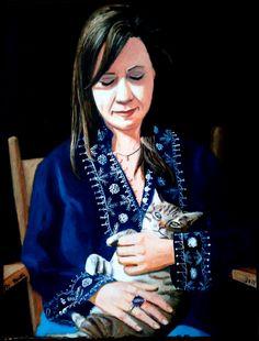 Patty y nuestra gata Lola (óleo sobre lienzo 2011)