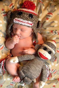 Baby crochet sock monkey hat with ear flaps newborn by mmhandmades. , via Etsy.