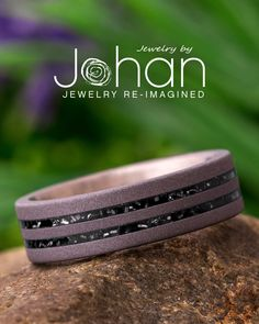 Jewelry by Johan's wedding bands are handcrafted with unique materials like black enamel and meteorite shavings. #JewelrybyJohan Meteorite Wedding Band, Titanium Rings, Black Enamel, Laser Engraving, Metal Jewelry, Wedding Bands, Your Style, At Least, Jewellery