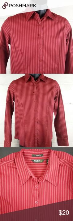 Eddie Bauer Dress Shirt Women Size M Red Striped Gently pre-owned clean excellent new without tags condition.   See photos above for actual details and the MEASUREMENTS & SIZING CHART to answer your Sizing Questions.  We do our best to maintain quality standards during inspection before listing items for sale in our closet, so you are happy to open your Poshmark package from Shebrew Trading Store!  We ship items immediately and maintain a high satisfaction rating. Thank you! Eddie Bauer Tops…