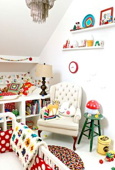 Tiny Little Pads - Interiors for Children. Colorful Baby Nursery. Nursing Chair. Wing Chair. Granny Square Blanket.