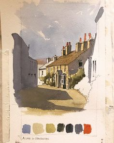 This weeks demo piece . this is a street in Grassington in North Yorkshire by John Harrison artist Landscape Drawings, Watercolor Landscape, Watercolor Paintings, Watercolors, John Harrison, Pen And Wash, Summer Painting, Watercolor Pictures, Detailed Drawings