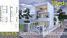 House Plans with 3 Bedrooms. The House has: Car Parking small garden -Living room, -Dining room, -Kitchen, Bedrooms with 2 bathrooms, 6 Bedroom House Plans, New House Plans, Small House Plans, House Floor Plans, Building A Small Cabin, Three Story House, Architectural House Plans, Narrow House, Garden Living
