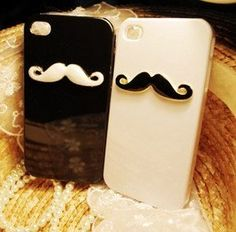 3D Black and White Cute Beard iPhone 4 Cases for Girls