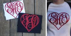 Your monogram in a super fun red glitter heart! Super comfortable pre shrunk cotton T shirts in youth