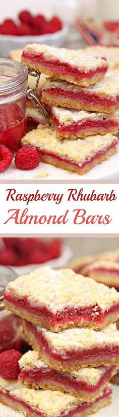 Raspberry Rhubarb Almond Bars - a buttery almond shortbread cookie bar, filled with raspberry rhubarb jam! | From SugarHero.com
