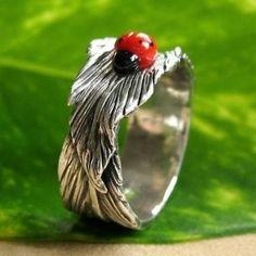 Sliver ladybug ring