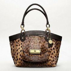 coach  handbag haircalf   bags coach shoulder bags kristin elevated leather cheetah haircalf ...