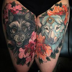 Here you will find the most majestic wolf tattoos in the world. Let your tattoo guide and protect you on your journey to freedom. Leg Tattoos, Flower Tattoos, Girl Tattoos, Sleeve Tattoos, Tattoo Thigh, Tattoo Legs, Best Tattoos For Women, Trendy Tattoos, Tattoos For Guys