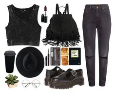 """grunge"" by mirelletelle ❤ liked on Polyvore featuring Monki, Dr. Martens, Retrò, Ryan Roche, H&M, Stila and CB2"