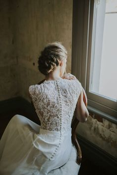 wedding dress lace back and button detail. 2017 collection from Perth bridal label Elvi Design