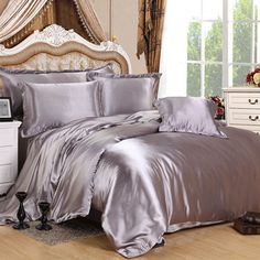 Silver silk duvet cover is made from the finest seamless Mulberry Charmeuse silk. It has a heavy weight of 22 momme, and creates an unparalleled sense of luxury and comfort next to the skin. Machine washable.