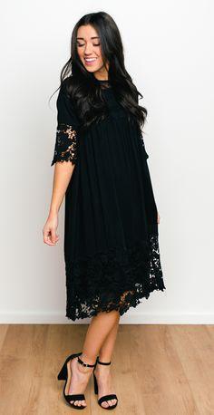 Noble Lace Dress - Black