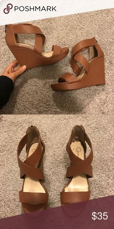 Tan leather wedges Only been worn twice. Show NO signs of wear. Really comfortable shoes!! Jessica Simpson Shoes Wedges