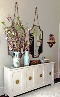 Melanie Turner Interiors featuring BRADLEY's Lane mirrors and Isabella console.