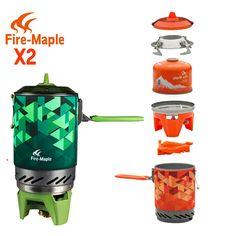 FMS-X2 X3 화재 메이플 컴팩트 원피스 캠핑 스토브 열교환 냄비 캠핑 장비 세트 플래시 개인 요리 시스템