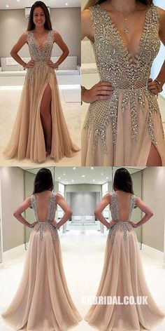 Unique Prom Dresses, A-Line V-Neck Sleeveless Charming Tulle Side Split Prom Dresses with Beads and Sweep Train, There are long prom gowns and knee-length 2020 prom dresses in this collection that create an elegant and glamorous look Split Prom Dresses, Backless Prom Dresses, Tulle Prom Dress, Homecoming Dresses, Chiffon Dresses, Nude Prom Dresses, Grey Prom Dress, Homecoming Ideas, Prom Dresses For Teens