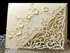 no info Nancy July 2017 Floral spray cut twice and using just the flowers on the cut to create dimension. Both it and the corner die are from China. Thinking of you cut 3 x's and stacked is from Simon Says. Designed and created by Peggy Dollar Wedding Card Wordings, Wedding Cards, Spellbinders Cards, Stampin Up Cards, Making Greeting Cards, Greeting Cards Handmade, Embossed Cards, Card Tutorials, Scrapbook Cards