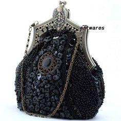 Unique Black Beaded Victorian Gothic Fashion Evening Prom Clutch Purse SKU-1110130