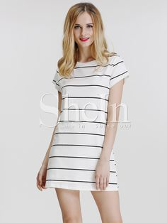White Cap Sleeve Striped T-Shirt Dress | SheInside