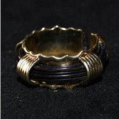 STUNNING 14ct GOLD RING WITH ELEPHANT HAIR (7g) MIN SIZE R (ADJUSTABLE) for R1,800.00