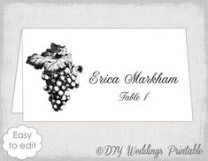 Printable Place Card Template  Instant Download  Vintage Escort