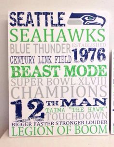 Seattle Seahawks Wood Sign 11 X 14 by MaeWestdsgn on Etsy
