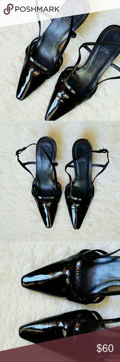 Stuart Weitzman Black Kitten Leather Strap Heels Stuart Weitzman Black Kitten Leather Strap Heels. Very good condition as shown! Size 6. Very shiny. Stuart Weitzman Shoes Heels