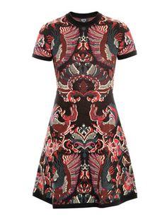 Intarsia-knit flirty dress